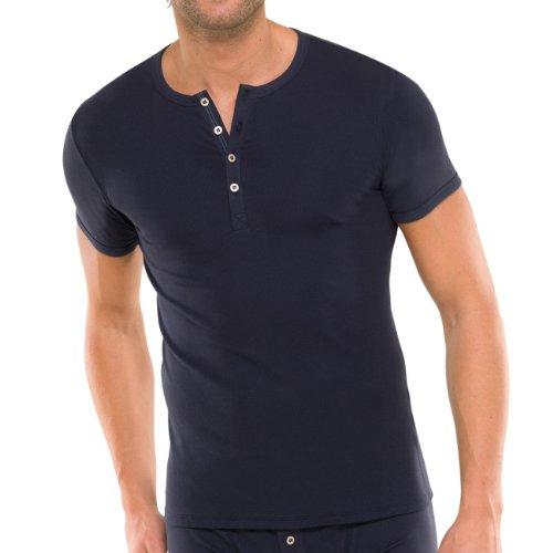 SCHIESSER Herren T-Shirt mit Knopfleiste Naturbursche 2er Pack, Farbe:Blau (800);Größe:6/L