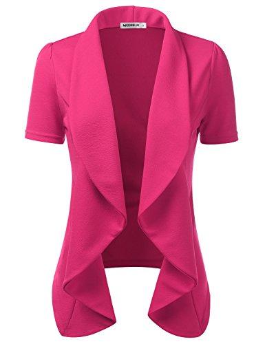 Doublju Womens Lightweight Thin Short Sleeve Open Front Blazer with Plus Size Fuchsia 3XL