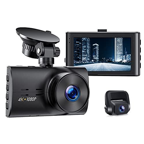 Echte 4K Dashcam Auto Vorne Hinten, 3\'\' Autokamera vordere 4K/2.5K hintere, Auto Kamera mit 170° Weitwinkelobjektiv, G-Sensor, WDR, Super Nachtsicht, Loop-Aufnahme und Parküberwachung, Max 256GB