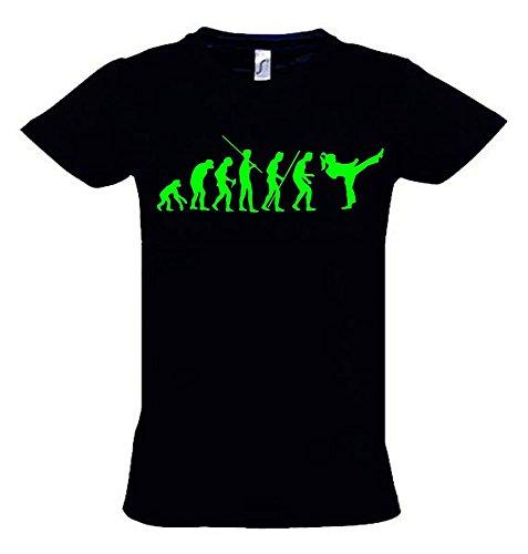 Mädchen Karate Kickboxen Evolution Kinder T-Shirt schwarz-Green, Gr.152cm