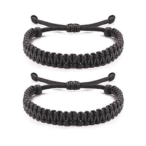 Jeka Handmade Friendship Bracelets Paracord Rope Surfer Braided Woven Bracelets Adjustable Distance Surfer Bracelets for Men Boys Wristbands Gift Black