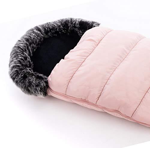 Vizaro - Saco Térmico de Invierno para Carrito o Silla de Paseo Bebé - Abriga y no suda - Gama Alta Premium - Color Rosa con Forrito Pelusa Gris - H