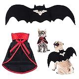 Disfraz de Halloween para Mascotas 2 piezas Perros pequeños Gatito Capa de vampiro,Disfraces de Mascotas de murciélagos de Halloween con alas, Traje de Fiesta de Mascotas para Halloween