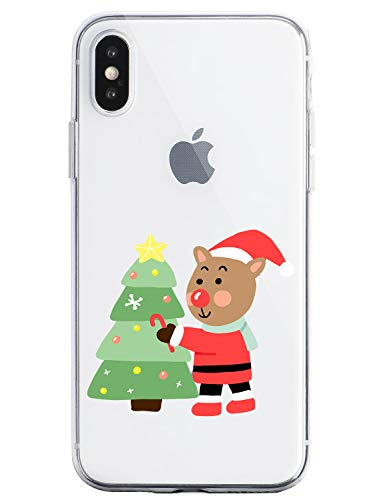 Oihxse Case Compatible Para Samsung Galaxy A40, Etui en Silicone Souple Ultra Mince Transparente Crystal Coque Motif de Mignon Noël Christmas Snowflak