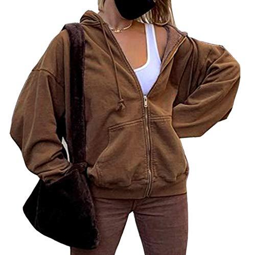 ORANDESIGNE Damen Kapuzenjacke Hoodie Jacke Hip Hop Boyfriend Style Oberteile Basic Sweatjacke Übergangsjacke Braun S