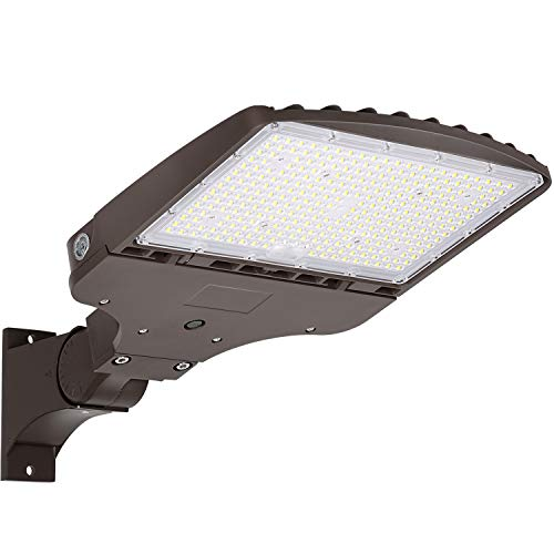 LED Parking Lot Lighting 150W 20,250LM (135LM/W)5000K Daylight with Dusk to Down Photocell, [400W HPS Equiv.] Commercial LED Parking Lot Lights Adjustable Outdoor Pole Mount LED Shoebox Light