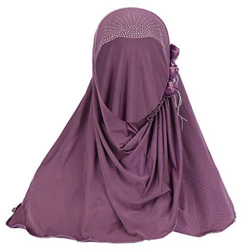 Women's Headbanda Muslim Islamic Solid Crystal Hem Flower Hijab Cap Head Scarf Shawl Turban Headbands