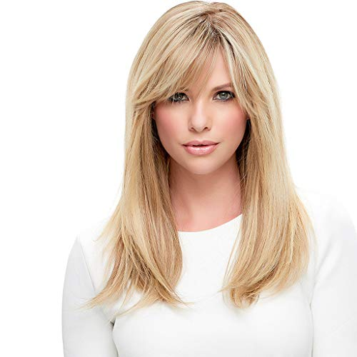 Solike Damen Blond Perücken Bob Mittellange Natürlich Seidige Glatte Echthaar Perücke Kopfumfang Verstellbar (A)
