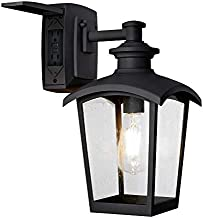 Home Luminaire 31703 Spence 1-Light Outdoor Wall Lantern With Seeded Glass and Built-In GFCI Outlet, Black