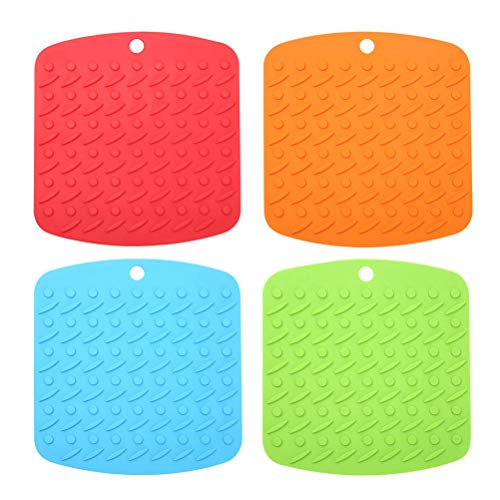 Pot Mat Hot Drying Insulated Pad Food Grade for Jar Opener Gripper Trivet Hot Dishes 4Pcs