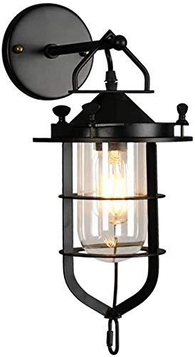 Lámpara de pared Industrial Metal Vintage lámpara de pared, retro creativo linterna ligera de la pared, antiguo cubierta E27 Hierro aplique, pantalla de cristal Negro, Comedor del restaurante del dorm