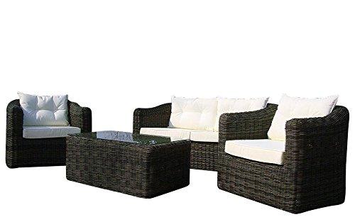 baidani 10 a00009 essgruppe Pearl, Table en rotin Design – Set de Meubles de Jardin avec Plateau en Verre, Lot de 2 de canapé, Fauteuil, Marron