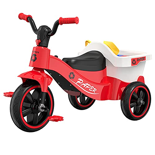 QSYY Caminante De Triciclo para Niños, Equilibrio De Automóviles con Almacén, Pequino Kart De Juguete, Clasificación De Basura para Niños Educativos, Adecuado para Niños De 3 A 8 Años,Rojo
