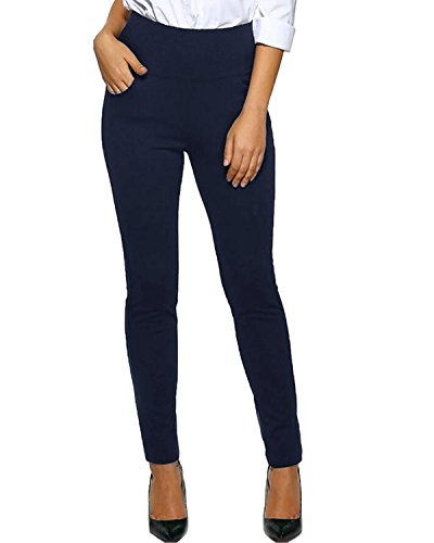 Kidsform Womens Dress Pants Straight Leg Trousers Office Wear Ladies Pant Stretch Slim Fit Casual Bottoms with Pocket Navy US 14/Asian 2XL