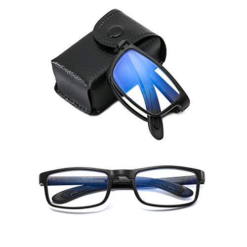Suertree Faltbare Brille Blaulichtfilter Lesebrille TR90 Anti-Blau Sehhilfe für Damen und Herren Lesehilfe mit PU Etui +2.0