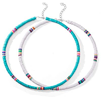 2 Pcs Heishi Surfer Choker Necklace Boho Jewelry Colorful African Vinyl Disc Beads Necklaces for Women Girls Handmade Summer Beach Collar Necklace for Holidays (Color1- white&blue)