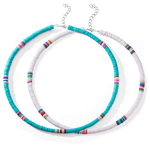 2 Pcs Heishi Surfer Choker Necklace Boho Jewelry Colorful African Vinyl Disc Beads Necklaces for Women Girls Handmade Summer Beach Collar Necklace for Holidays (Color1- white\&blue)