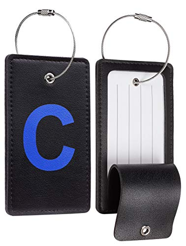 Travelambo Initial Luggage Tag Baggage Bag Tags Travel Fully Bendable Tag Stainless Steel Loop 2 pcs Set (C)