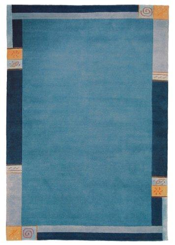 Luxor Living Nepal Teppich handgeknüpft blau Größe auswählen 60 x 90 cm