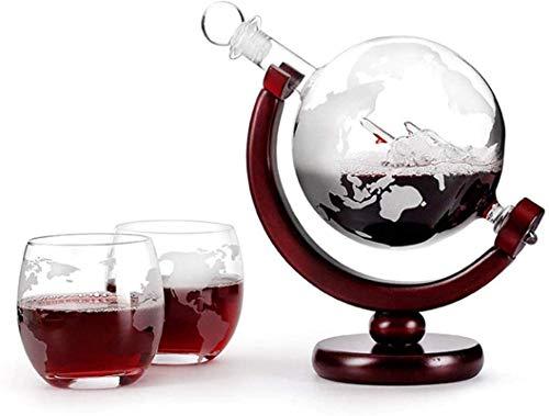 Decantador de vino de cristal hecho a mano, Skull Glass Vino Decantador y gafas Set Mapa del mundo ANTER, Globo de cristal grande con dos copas de vino, para sala de estar Bar Restaurante Diseño trans