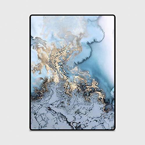 JJSDT Tapijt, blauwe gouden creatieve wolkentapijten voor woonkamer, slaapkamer, nachtkastje, woonkamer, vloermatten, wollen dekens in de buitenlucht