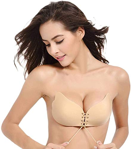 UOTJCNR Sticky Bra Invisible Lift up Bra Adhesive Bra Push up Bra Backless Strapless Bra for Women Beige