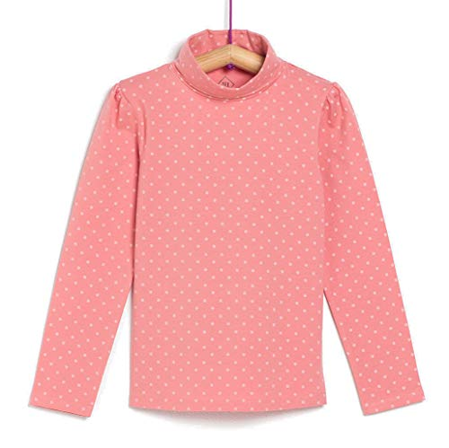 TEX - Camiseta de Algodón para Niña, Manga Larga, Cuello Alto, Rosa Arena, 3 a 4 años