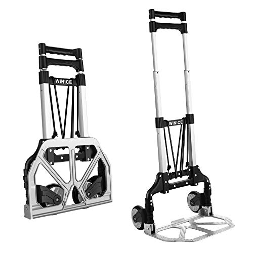 Foldable Hand Truck Dolly Aluminum Heavy Duty Transport Trolley Portable Cart, 165LB Load Capacity, Adjustable Telescoping Handle for Luggage Travel Office
