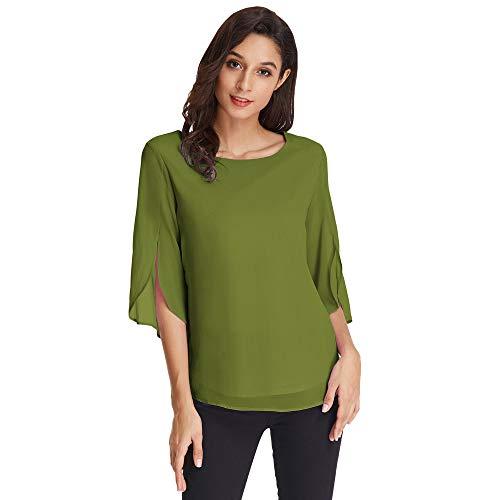 GRACE KARIN Camicia Donna Elegante Chiffon Casual Puro Colore Camicetta Blusa Eleganti Magliette Ragazza Maniche3/4 Tinta Unita per Primavera Estive Verde L CLAF15-7