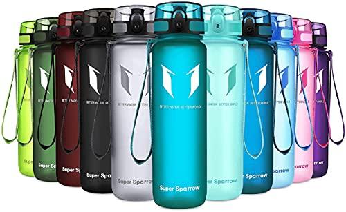Super Sparrow Bouteille d'eau - Gourde - sans BPA - Convient pour Le Sport, la randonnée, l'école, Le Bureau, en Plein air, Verre de Mer, 350ml-12oz