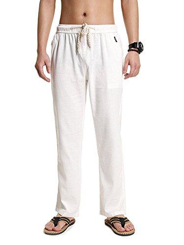 SOIXANTE Homme Pantalon en Mélange Coton Lin Coupe Large Décontracté Léger Confortable Respirant,Blanc,X-Large( 3XL):tour de taille: 96-100CM
