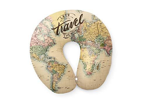 I-Total - Cuscino da viaggio/Cuscino da viaggio per collo Morbido per supporto cervicale/Cuscini Cuscino da viaggio divertente (Map)