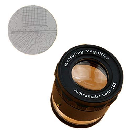 LHQ-HQ - Lupa de reconocimiento de retículos y lente óptica de 10 unidades, lupa HD con 10 luces LED, para ancianos, jóvenes, estudiantes, investigación en biología, libros de lectura, detalles finos