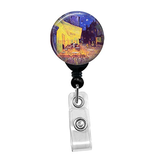 Vincent Van Gogh - Cafe Terrace At Night - Retractable Badge Reel - ID Name Tag Custom Badge Holder (Black Badge Reel with Spring Pinch Clip)