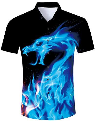 RAISEVERN Men's Button Down Shirts Slim-fit Short Sleeve Dress Shirt Funny 3D Blue Burning Fire Flame Smoke Dragon Printed Black Casual Hawaiian Tropical Summer Holiday Beach Aloha Button-Down Tees