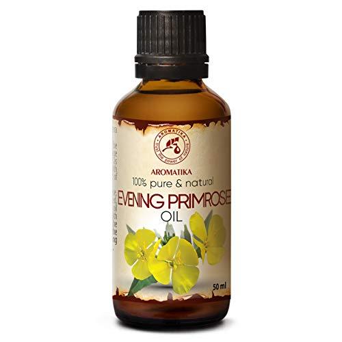 Olio di Enotera 50ml - Primula notturna - 100% Naturale - Oenothera Biennis Oil - Olio per il Corpo - Cura Intensiva per Viso - Capelli - Trattamento di Bellezza - Massaggi
