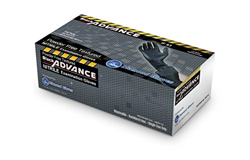 Diamond Gloves 6.3 mil Black Advance Nitrile Examination Powder-Free Gloves, Heavy Duty, 100 Count-Size Large [NEPF63-L]