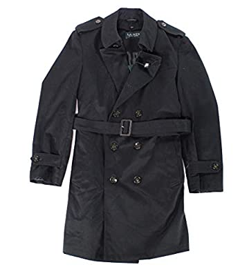 Ralph Lauren Men's LOWRR2JT0002 Double Breasted 3/4 Length Belted Trench Raincoat- Black - 44L from Lauren By Ralph Lauren