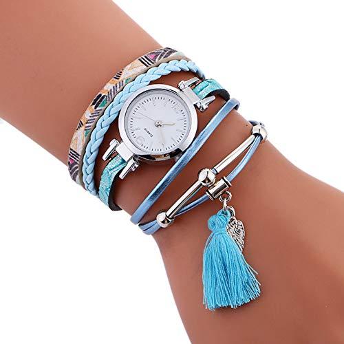 LKNNF Damen wickeluhren Frauen quaste anhänger armbanduhren handgefertigt geflochtenes Armband Uhr Uhren Leder Uhr