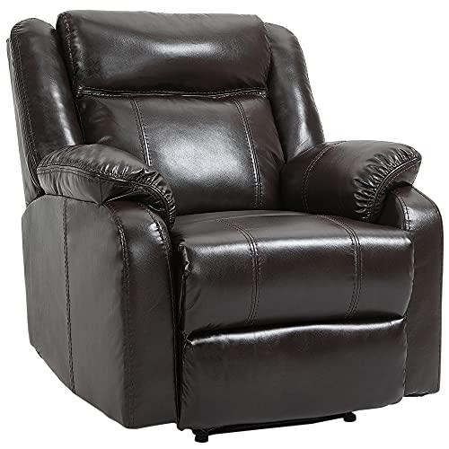 homcom Poltrona Relax Reclinabile Fino 150° con Poggiapiedi Integrato, Similpelle PU e Metallo, Marrone, 90x95x100cm
