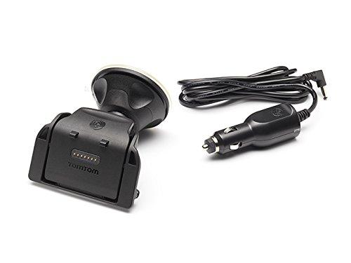 TomTom 9UGB.001.03 - Soporte y cargador para moto para GPS TomTom Rider (Altavoz integrado, Soporte giratorio multidireccional, Incluye un cargador para coche), negro