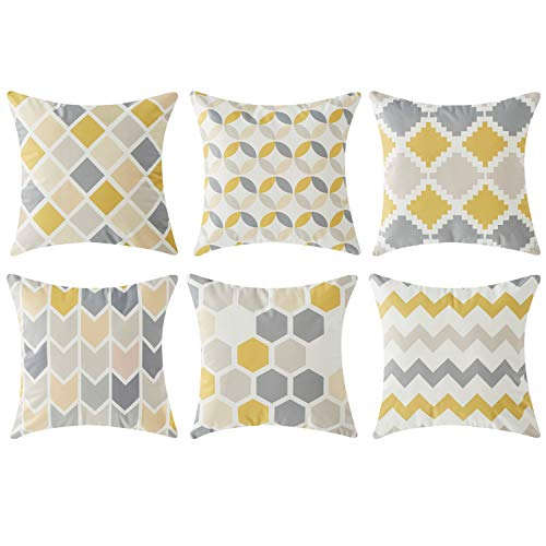Topfinel Yellow Grey Geometric Cushion Cover Microfiber Decorative Square Throw Pillow Cases for Sofa Bedroom 18 x 18 Inch, with Invisible Zipper 45cm x 45cm, Set of 6