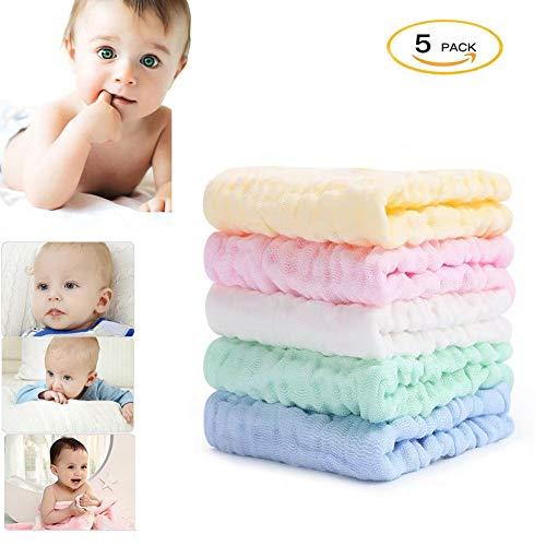 HyAiderTech 5 Pezzi Asciugamani Bambini Mussola, Panni per Bambini per il Bagno, Asciugamano Viso Infantile 100% Cotone Baby Accessorio Fazzoletto Asc