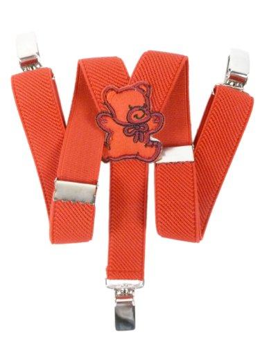 Olata Hosenträger für Babys 0-2 Jahre mit 3 Clips und Teddybär Design - Rot