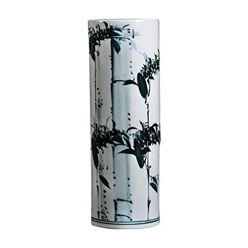 Vase Céramique Vase Classique Céramique Encre Bambou for Living Art Déco Accueil Ménage Chambre Chambre Bureau Table avec Base Blanche 15,5 x 46 cm