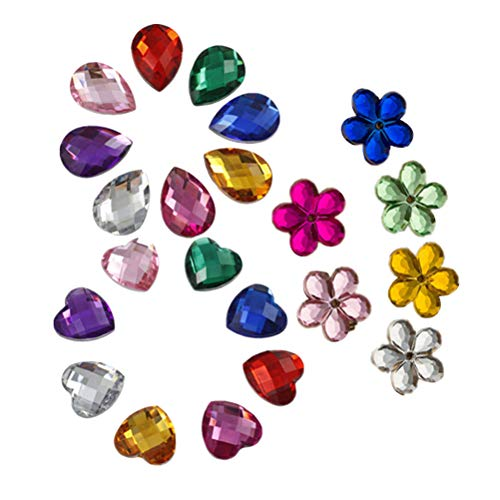 Healifty 300pcs Gemas Acrílico Rhinestones de Piedras Preciosas Adornos de Piedras Preciosas Corazón Flor de Ciruelo y Forma de Gota de Agua para joyería Artesanía de Bricolaje (Color Mezclado)