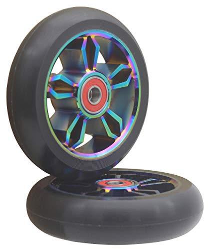 aibiku 2 Pezzi 100mm Scooter Ruote, con Cuscinetti a Sfera ABEC-11 per TBF/Fuzion/Boldcube/Land Surfer Monopattini Stunt Scooter (Colorful/Nero)