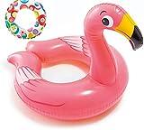 Bavaria Home Style Collection Aufblasbarer Schwimmring Motiv Auswahl Flamingo Frosch Ente Pinguin Zebra Wasserspielzeug Luftmatratze mit Tierkopf Wasserspielring Kinder ab 3 Jahre (Flamingo)
