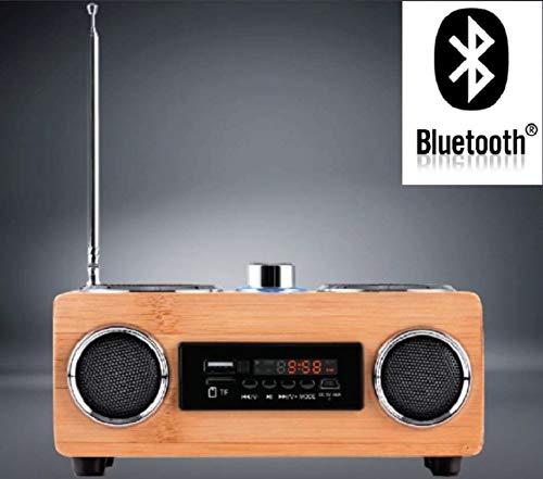 Bluetooth luidspreker hout Fairshopping • FM-radiotuner • Echt houten behuizing • USB-poort • SD-slot • 30 zenderopslagplaatsen • LED-display • breedband-luidspreker