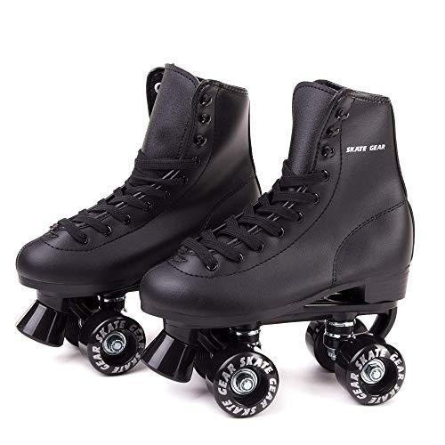Skate Gear Soft Classic Faux Leather Roller Skates (Classic Black, Women's 10 / Men's 9)